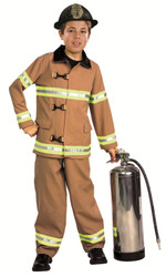 Tan Firefighter Fireman Boys Costume