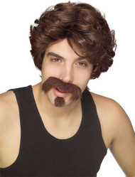 WIG MUSTACHE GOATEE SET brown big john hillbilly hipster mens halloween costume