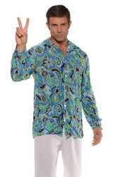 BLUE DISCO SHIRT groovy retro hippie 70s 60s adult mens halloween costume XL