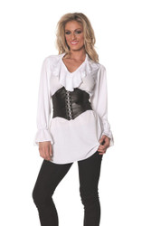 Pirate Ruffled Front Long Sleeve Shirt Steampunk Adult Womens Halloween Costume