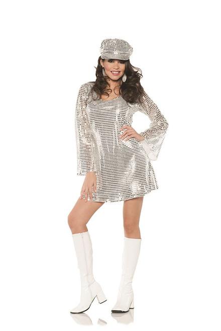 silver go go disco 70s mini womens adult halloween costume