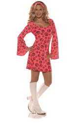 Neon Pink Go Go Mini Dress Adult Womens Halloween Costume
