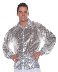 Silver Disco Shirt Sequin Metallic 70's Retro Adult Mens Top Halloween Costume