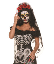 Red Black Day Of The Dead Mantia Red Roses Headband Adult Womens