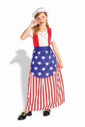 Betsy Ross America Indepence day Flag  kids girls Halloween Fourth of July costume