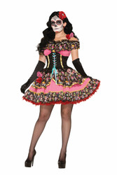 Day of the Dead Senorita Dress adult womens Halloween costume
