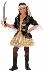 Golden Seas Pirate buccaneer  kids girls Halloween costume