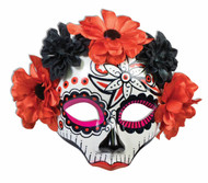 Mask Day of the Dead with Flowers with eyeglass arms adult womens Halloween costume accessory