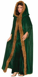 green womens faux fur trimmed Cape womens adult Halloween Christmas costume