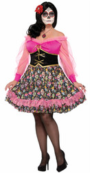 Day of the Dead Senorita Dress adult womens Halloween costume plus