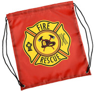 Kids Red Firefighter Drawstring Backpack