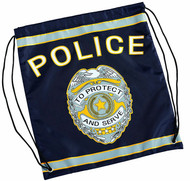 Kids Blue Police Officer Drawstring Backpack by Aeromax