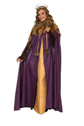 MEDIEVAL CLOAK purple cape robe queen king royal renaissance mari gras costume