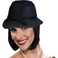 black Cloche  Flapper Hat 20's decades adult womens Halloween costume accessory
