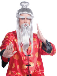 white Martial Arts Master Sensei Samurai Kung Fu Asian WIG ONLY adult mens Halloween costume accessory
