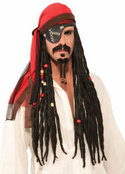 Pirates of the Carribean wig headscarf dreads adults mens Halloween costume accessory