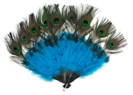 Peacock Tail Fan accessory Mardi Gras Halloween Masquerade costume accessory