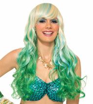 green blonde Mermaid waves wig adult womens Halloween costume accessory