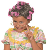 Aunt Gertie Grandma Gray Wig kids girls boys Halloween costume