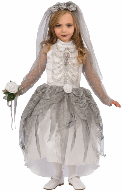 Skeleton Bride Ghost Day of the Dead kids girls Halloween costume  sc 1 st  CostumeVille & Skeleton Bride Ghost Day of the Dead kids girls Halloween costume ...