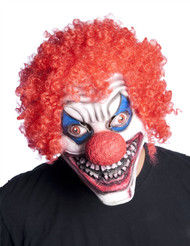 Clown with red curly hair on top red nose overhead latex mask