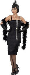 Black Flapper Fringe Dress Adult Womens Halloween