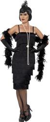 Black Flapper Fringe Dress Adult Womens Halloween