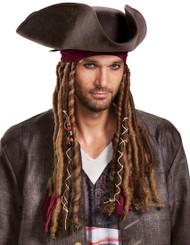 Adult Potc5 Captain Jack Sparrow Hat with Bandana & Dreads