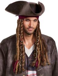 adult Potc5 Captain Jack Hat, Bandana & Dreads