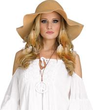 Hippie Girl Tan Floppy Hat 60s 70s Halloween Costume Accessory