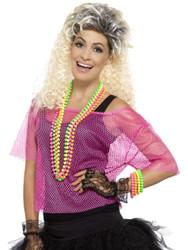 Adult Neon Pink Fishnet Top 80s Halloween Costume Accessory
