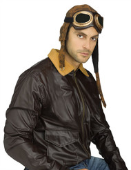 Aviator Cap with Goggles Mens Hallowen Costume Accessory