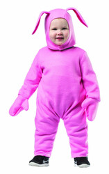 PINK BUNNY SUIT kids pjs Christmas Story ralphie halloween costume child 18-24M