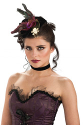 Pirate Mini Hat with Feather fascinator adult womens Halloween costume accessory