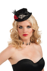 Gothic Mini Top Hat with fascinator adult womens Halloween costume accessory