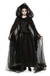 Black Hooded Tulle Cape Gothic Witch adult womens Halloween costume accessory