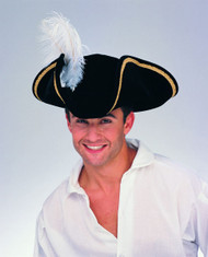 black Tricorn Buccaneer Pirate Hat adult mens Halloween costume accessory