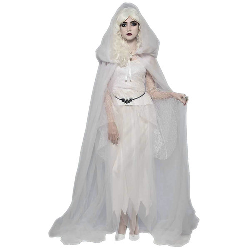 White Hooded Tulle Cape Gothic Bride adult womens Halloween costume accessory  sc 1 st  CostumeVille & White Hooded Tulle Cape Gothic Bride adult womens Halloween costume ...