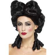 Gothic Baroque Wig Womens Black Curls Victorian Costume Hair