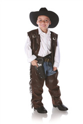 Boys Cowboy Chaps and Vest Costume Medium