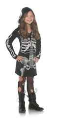 Girls Skeleton Hoodie Bones Dress Halloween Costume