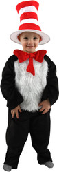 CAT IN THE HAT dr. suess jumpsuit hat kids girls boys halloween costume Medium