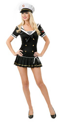 Black SAILOR first mate sexy womens adult costume Small