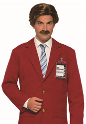 Anchorman Ron Burgundy Wig and Mustache Mens Funny halloween costume Accessory