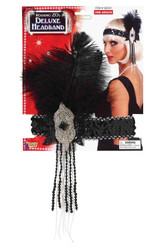 FEATHER SEQUIN HEADBAND flapper headpiece gatsby roaring 20s costume accessory