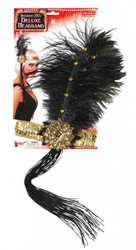 SEQUIN FLAPPER HEADPIECE headband feathers gatsby roaring 20s costume accessory gold