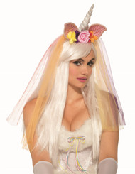 Unicorn Floral Veil Headband Adult Halloween Costume Accessory