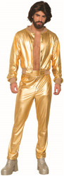 Disco Singer Shiny Gold Lame 70s vintage mens retro halloween costume