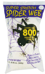 Outdoor/Indoor Super Stretch Spider Web - Covers 800 sq ft - Halloween Decor