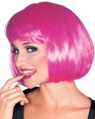 SHORT PINK BOB wig hair bangs glamour fashion womens halloween accessory